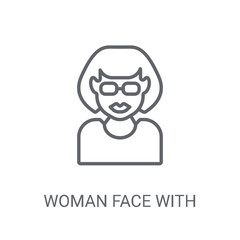 Woman face with sunglasses icon. Trendy Woman face with sunglasses logo concept on white background from People collection