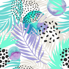 Foto op Aluminium Grafische Prints Floral and geometric background with palm leaves, doodle, watercolor texture, stains, 80s 90s shapes