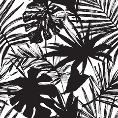 Fototapeten Grafik Druck Vector tropic illustration in black and white colors