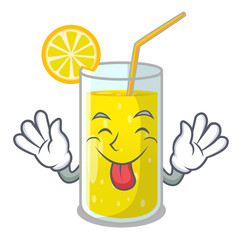 Tongue out fresh lemon juice in glas cartoon