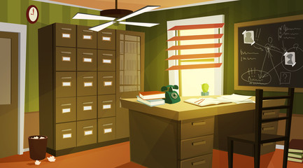 Private detective office interior cartoon vector with retro telephone and papers on work desk, case for dossiers, chalkboard with schemes and suspects photos illustration. Company clerk workplace