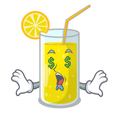Money eye fresh lemon juice in glas cartoon