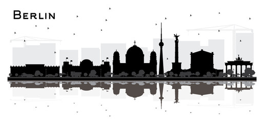 Berlin Germany City Skyline Silhouette with Black Buildings Isolated on White.