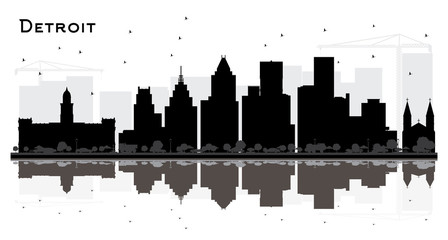 Detroit Michigan City Skyline Silhouette with Black Buildings Isolated on White.