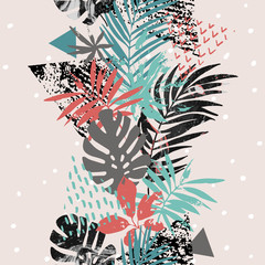 Wall Murals Graphic Prints Art illustration with tropical leaves, grunge, marbling textures, doodles, geometric, minimal elements.
