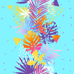Tuinposter Grafische Prints Modern illustration with tropical leaves, marbling textures, doodles, geometric, minimal elements.