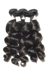 Loose wavy spiral black human hair weaves extensions bundles