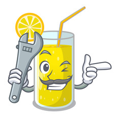 Mechanic fresh lemon juice in glas cartoon