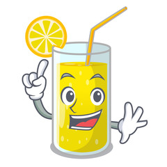 Finger fresh lemon juice in glas cartoon