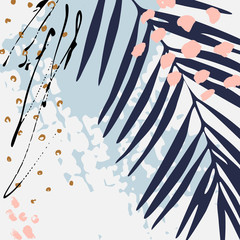 Foto op Aluminium Grafische Prints Modern vector illustration with tropical leaves, grunge texture, doodles, minimal elements.