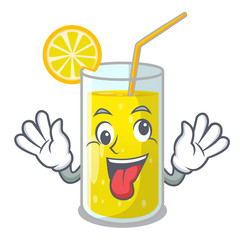 Crazy fresh lemon juice in glas cartoon