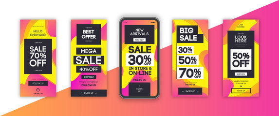 Instagram stories template set with liquid abstract modern gradient background for banner sale, presentation, flyer, poster, invitation. Screen backdrop for mobile app. Streaming.