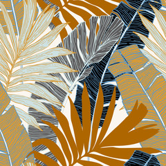 Hand drawn abstract tropical summer background : palm tree and banana leaves in silhouette, line art