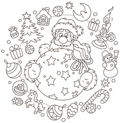 Christmas and New Year card with Santa Claus and his gift bag with funny toys around, black and white vector illustration in a cartoon style