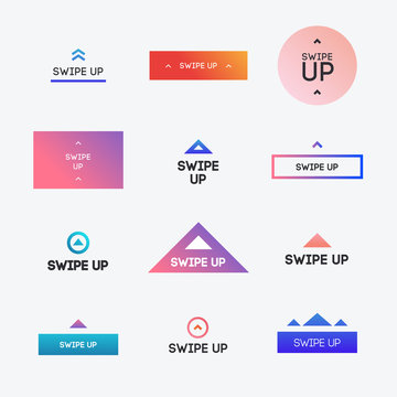 Swipe up icon set modern gradient style isolated on background for instagram stories design, scroll pictogram. Arrow up logo for blogger. Vector 10 eps