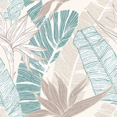 Fototapeten Grafik Druck Hand drawn abstract tropical summer background : palm tree and banana leaves, bird-in-paradise flower in silhouette, line art