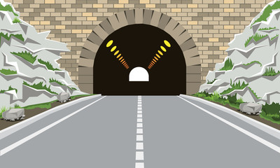 Fototapeta Tunnel and highway with flat and cartoon style. High detailed vector illustration. obraz