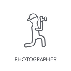 Photographer linear icon. Modern outline Photographer logo concept on white background from Professions collection