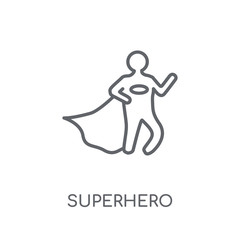Superhero linear icon. Modern outline Superhero logo concept on white background from Professions collection
