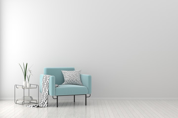 Modern living room with armchair. Scandinavian style interior design. 3D illustration. Wall mural