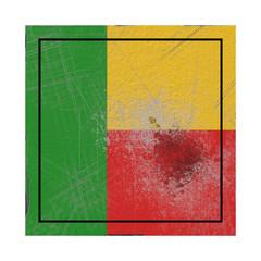 Benin flag in concrete square