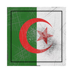 Algeria flag in concrete square