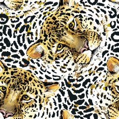 Leopard pattern design, watercolor jaguar illustration. wild animal skin seamless background. tropical nature.