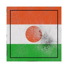 Niger flag in concrete square