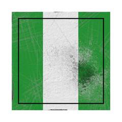 Nigeria flag in concrete square