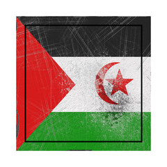 Sahrawi Arab Democratic Republic flag in concrete square