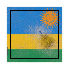 Rwanda flag in concrete square