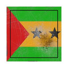 Sao Tome and Principe flag in concrete square