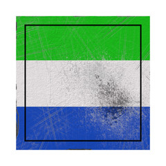 Sierra Leone flag in concrete square
