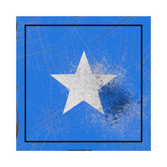 Somalia flag in concrete square