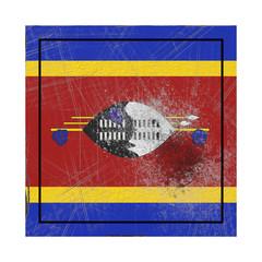 Swaziland flag in concrete square