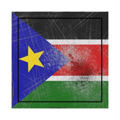 South Sudan flag in concrete square