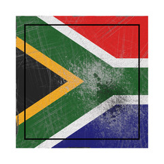 South Africa flag in concrete square