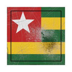 Togo flag in concrete square
