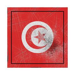 Tunisia flag in concrete square