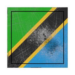 Tanzania flag in concrete square