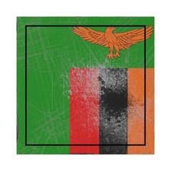 Zambia flag in concrete square