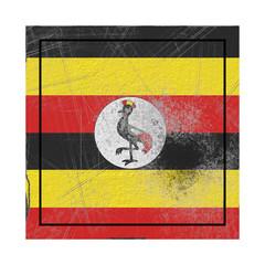 Uganda flag in concrete square