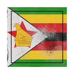Zimbabwe flag in concrete square