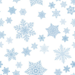 Snowflakes seamless pattern for Christmas decoration, cards, fabric or gift wrapping vector background