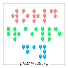 World Braille Day. Social event concept for blind people. Point Braille in the form of balloons.