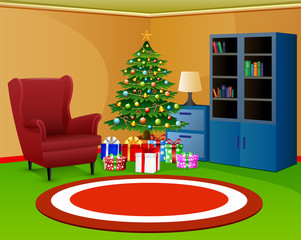 Christmas room with bookcase an red armchair