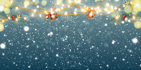 Fotomurales - Abstract Christmas background with light garlands, fir branches, jingle bells, snowflakes and place for text. Festive sparkling colorful, golden luminous background with falling snow. Vector