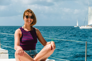 Girl in a boat near Saona Island, Dominican Republic