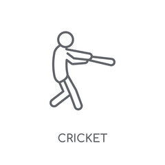Cricket linear icon. Modern outline Cricket logo concept on white background from Sport collection