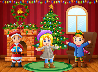 Cartoon of Happy kids in the living room with christmas and new year decoration